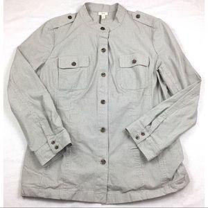 J. Jill Stretch Blazer Military Light Jacket